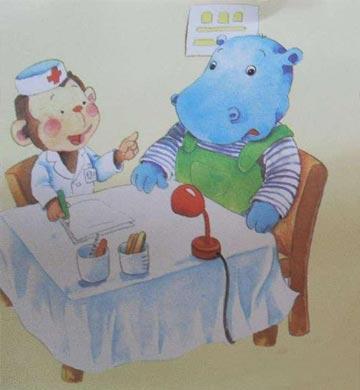 """小河马捂着牙坐在床上大哭了起来,妈妈吓了一跳:""""怎么啦?"""