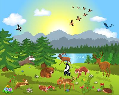 小鹿和小兔要比赛,都过来加油打气,大家都说小鹿一定会赢,大象当裁判