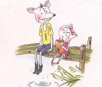 小个子猫走到街上,看见大个子老鼠正要过马路。这时绿灯刚灭,红灯刚亮。大个子老鼠赶紧过马路。   小个子猫想要提醒他:亮红灯不能过马路,要等亮绿灯但已经来不及了!一辆小汽车开过来,撞到大个子老鼠身上,把他撞了个跟头。小个子猫急忙跑过去,要把大个子老鼠拉起来,可是拉不动。还是大个子老鼠自己爬起来了。   撞疼了没有?
