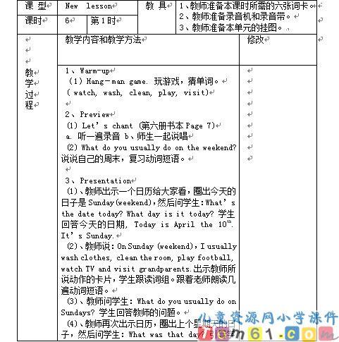人教版小学英语六年级下册教案11