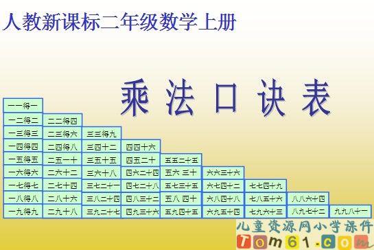 乘法口诀表课件_人教版小学数学二年级上册课件_小学图片