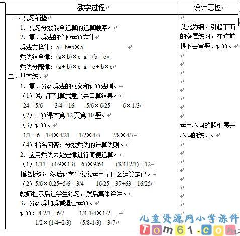 小学数学年级3_上册版教案分数六人教乘法小学_课件入行论备课图片