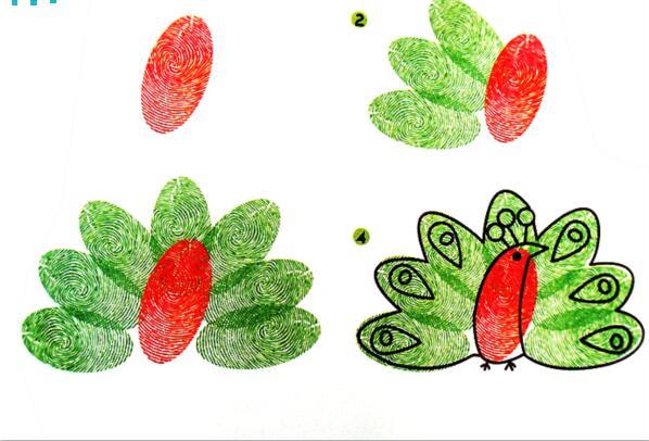 孔雀-手指画图集