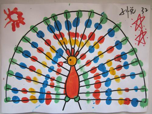 孔雀-手指画图集图片_儿童手指画_少儿图库_中国儿童