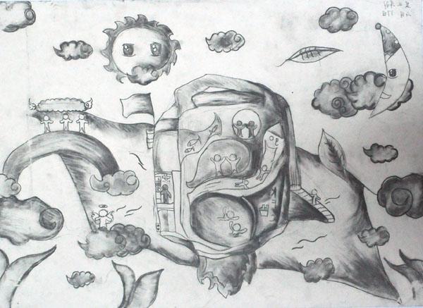 住在天上-素描图集图片_儿童素描_少儿图库_中国儿童