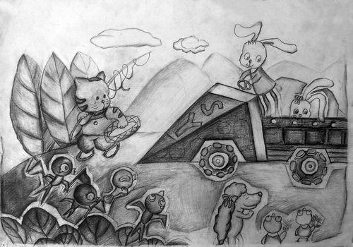 动物-素描图集图片_儿童素描_少儿图库_中国儿童资源网