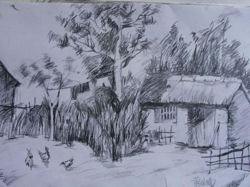 简单的乡村风景铅笔画