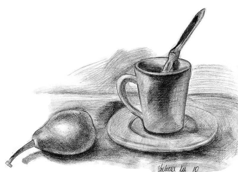 梨和茶杯-素描图集