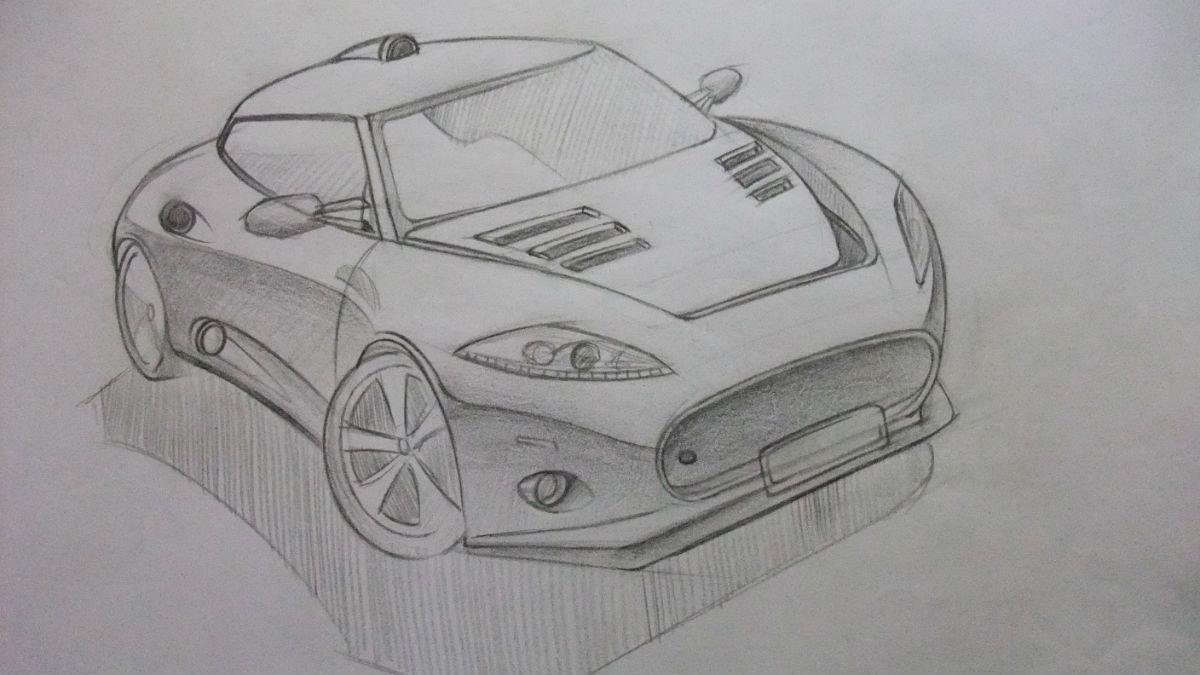 手绘铅笔画汽车