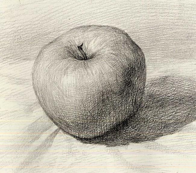 单个水果彩铅素描静物步骤