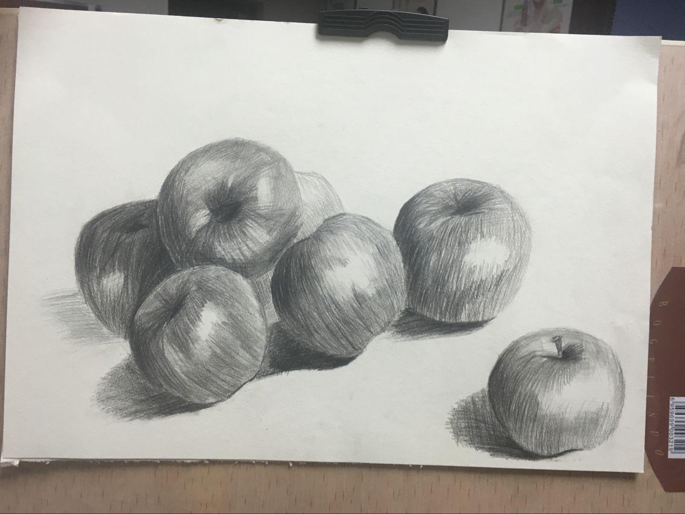 苹果-素描图集图片