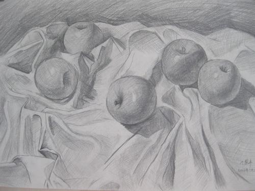 苹果-素描图集图片_儿童素描