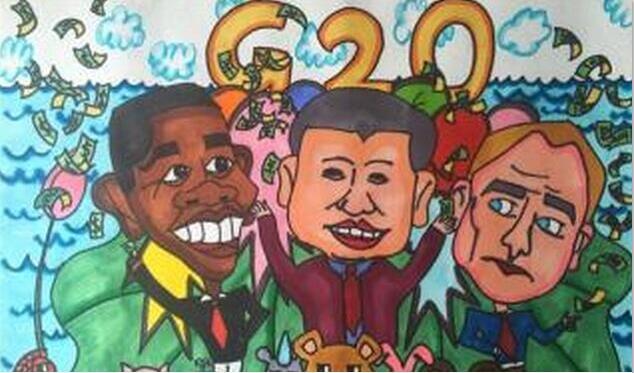 g20峰会-水彩画图集图片_儿童水彩画_少儿图库_中国
