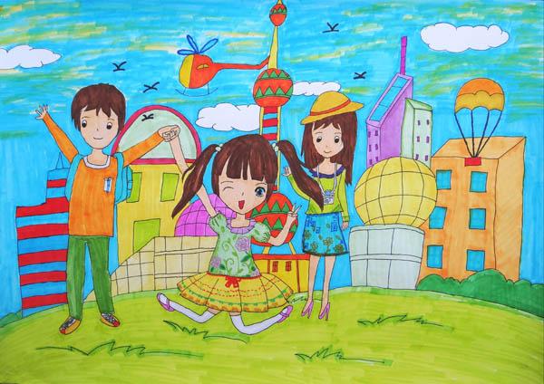 一家人-水彩画图集图片
