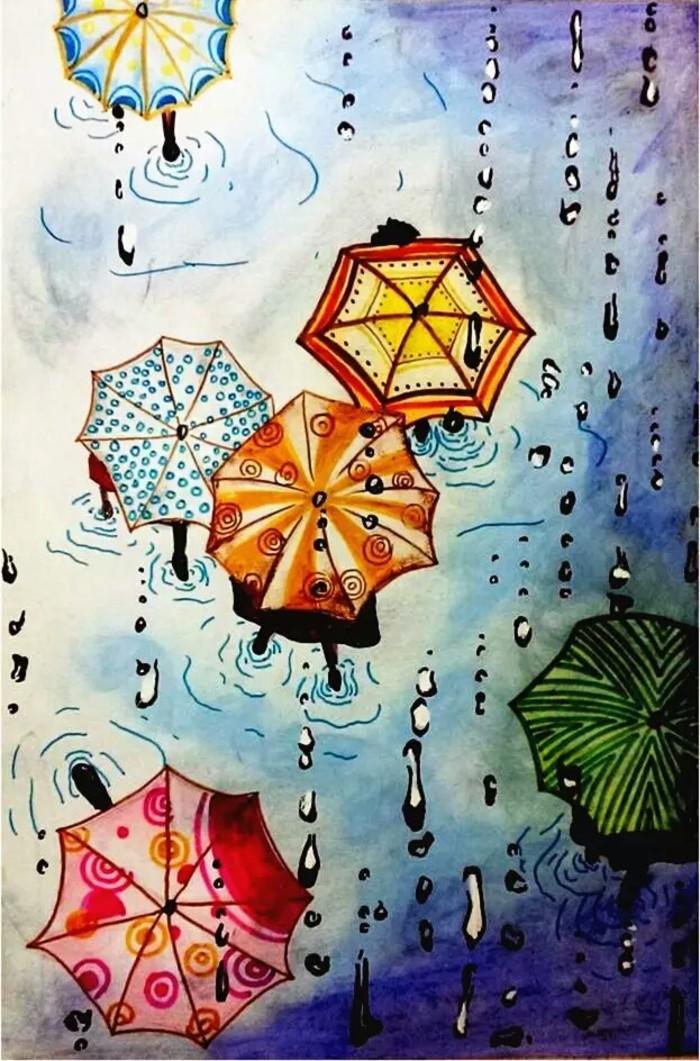 下雨天-水彩画图集图片_儿童水彩画_少儿图库_中国