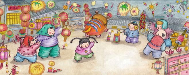 元宵节-水彩画图集图片_儿童水彩画_少儿图库_中国