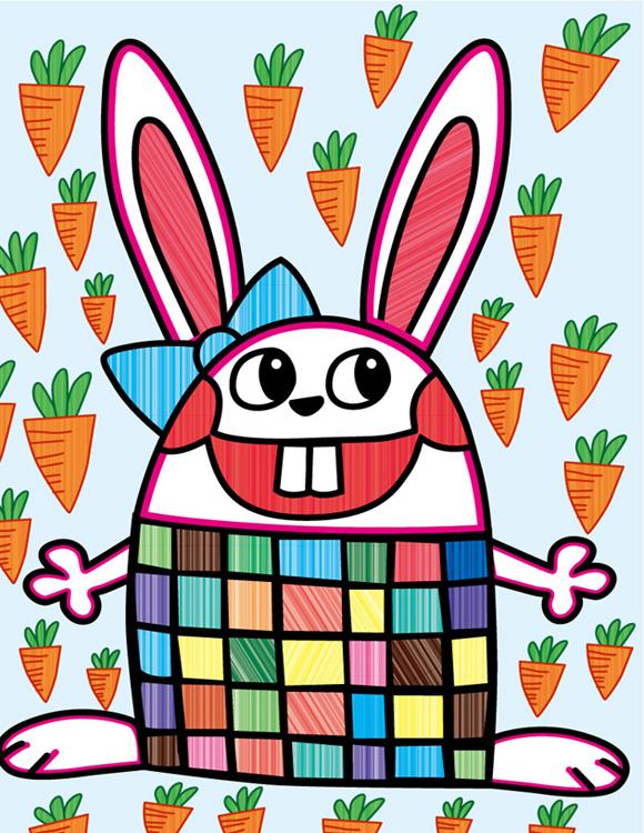 兔子-水彩画图集图片_儿童水彩画