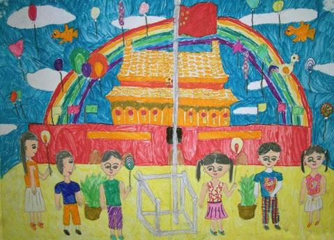 儿童手绘天安门国庆