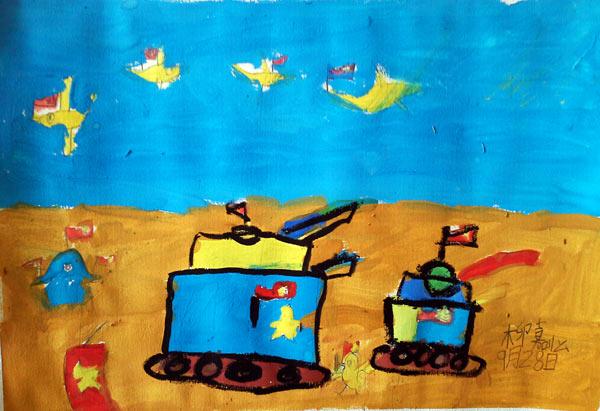 坦克-水彩画图集图片_儿童水彩画_少儿图库_中国儿童
