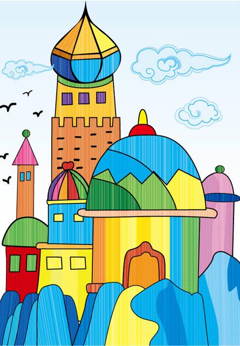 城堡-水彩画图集图片_儿童水彩画_少儿图库_中国儿童-儿童水彩画图