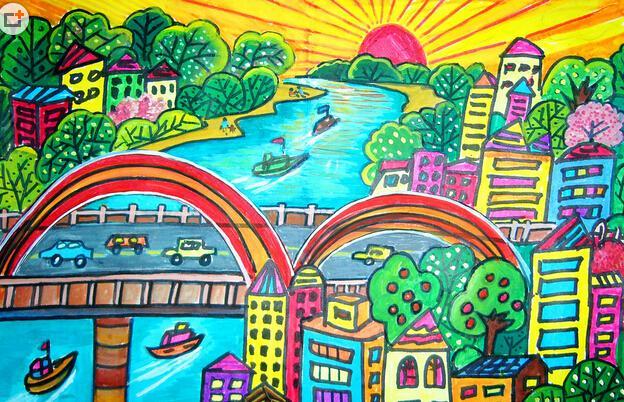 城市-水彩画图集图片_儿童水彩画_少儿图库_中国儿童