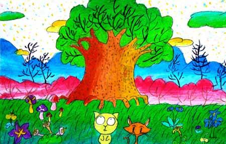 大树-水彩画图集图片_儿童水彩画_少儿图库_中国儿童