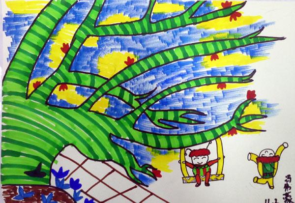 花 水彩画图集图片 儿童水彩画