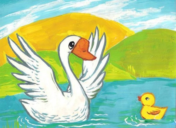 大白鹅-水彩画图集图片