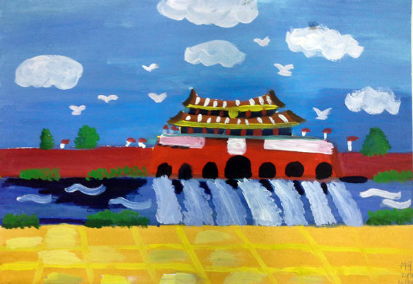 天安门-水彩画图集图片_儿童水彩画_少儿图库_中国