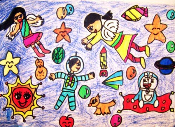 太空-水彩画图集图片_儿童水彩画_少儿图库_中国儿童