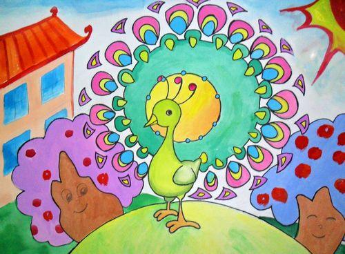 孔雀-水彩画图集图片_儿童水彩画_少儿图库_中国儿童