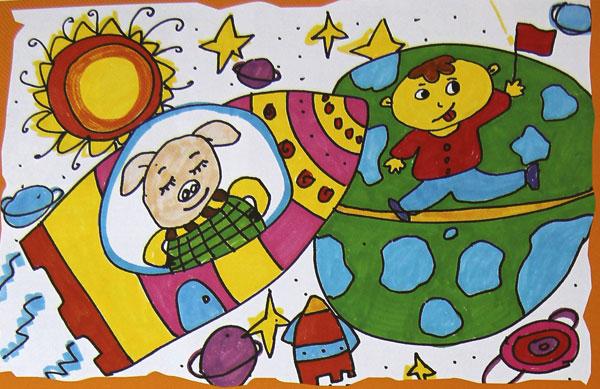 宇宙-水彩画图集图片_儿童水彩画_少儿图库_中国儿童
