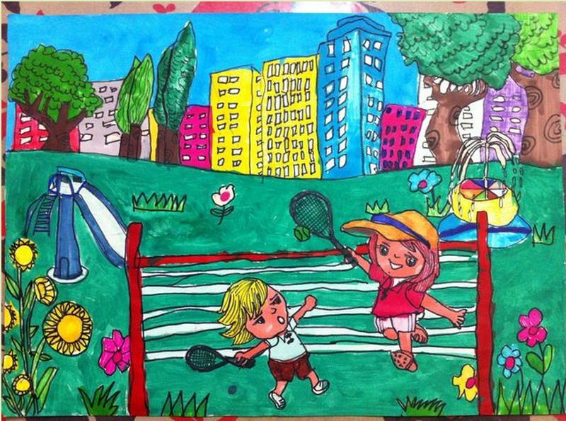 家园-水彩画图集图片_儿童水彩画_少儿图库_中国儿童
