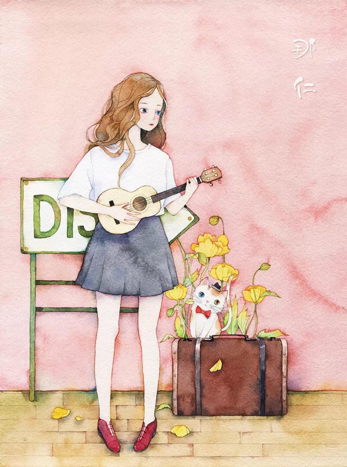 小女孩-水彩画图集