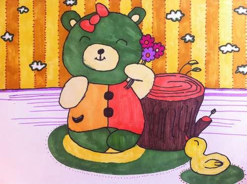 小熊-水彩画图集图片_儿童水彩画_少儿图库_中国儿童
