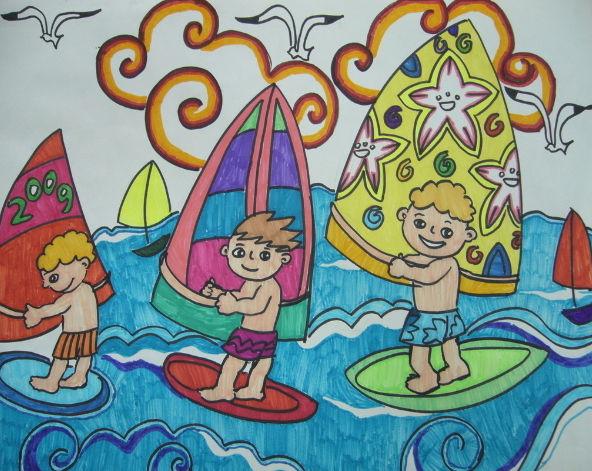 帆船比赛-水彩画图集图片_儿童水彩画_少儿图库_中国