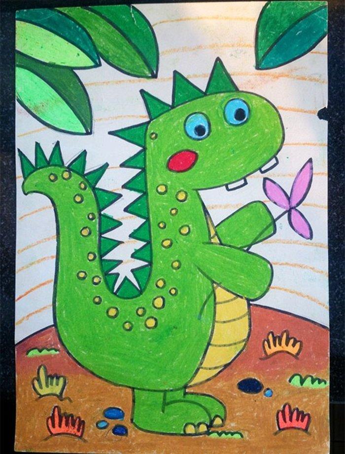 恐龙-水彩画图集图片_儿童水彩画_少儿图库_中国儿童