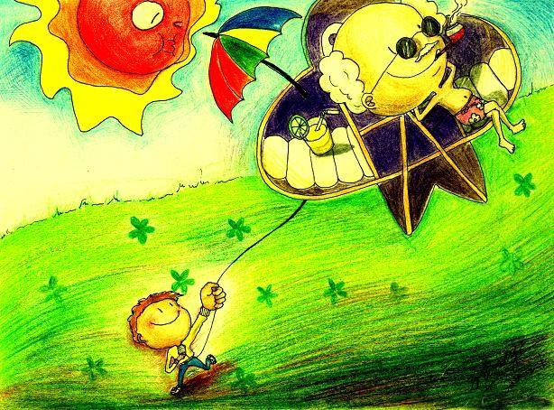 放风筝-水彩画图集图片_儿童水彩画_少儿图库_中国