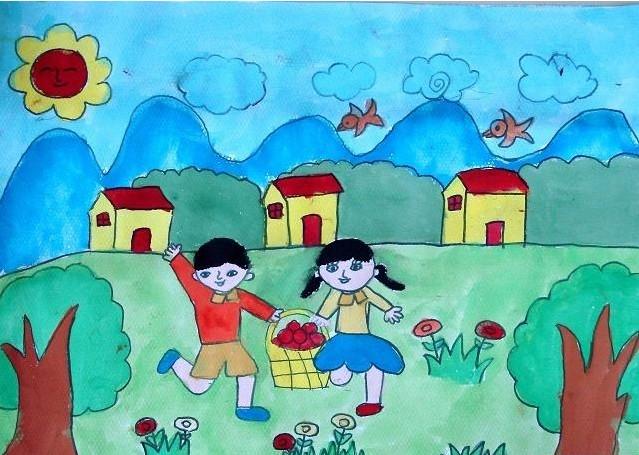 儿童水粉画题材绘画作品