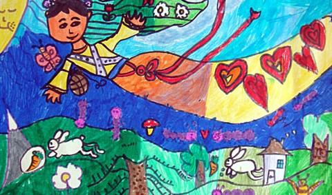 春天-水彩画图集图片_儿童水彩画-小女孩 水彩画图集图片 儿童水彩画