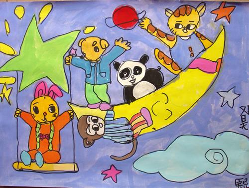 月亮-水彩画图集图片_儿童水彩画_少儿图库_中国儿童