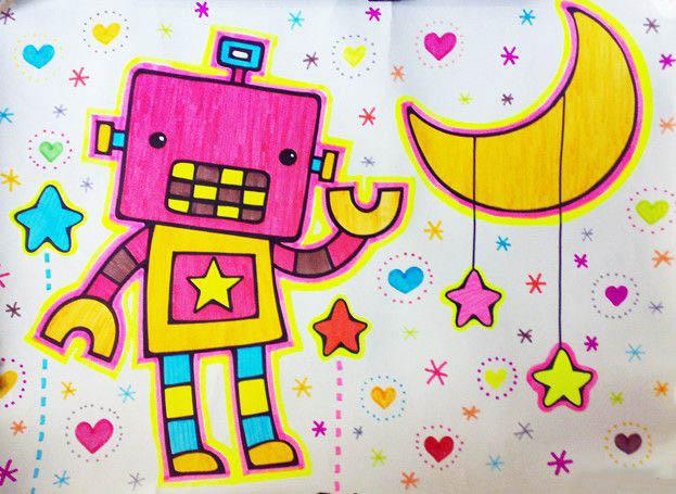 机器人-水彩画图集图片_儿童水彩画_少儿图库_中国