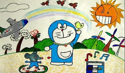 机器猫-水彩画图集图片_儿童水彩画_少儿图库_中国