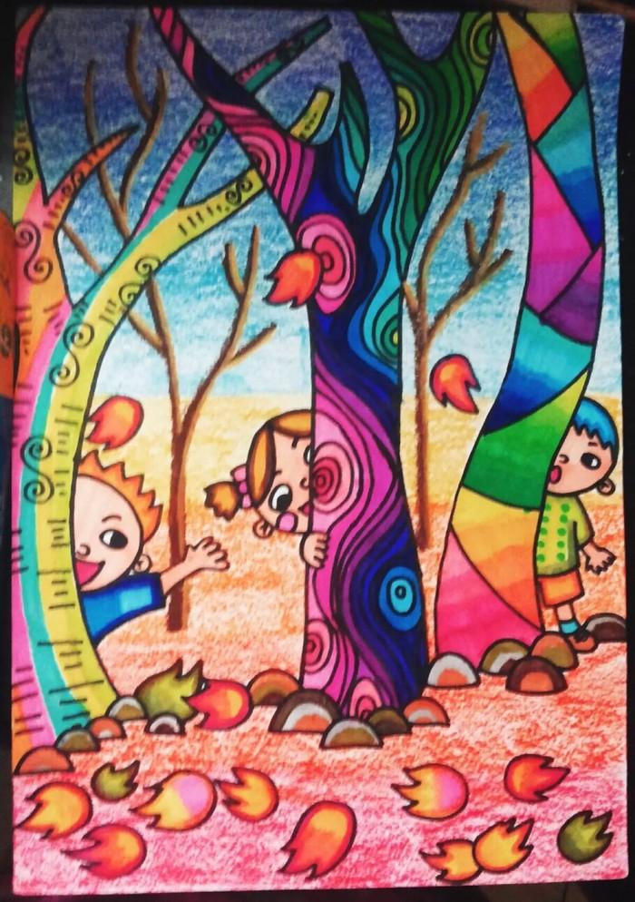 树林-水彩画图集图片_儿童水彩画_少儿图库_中国儿童