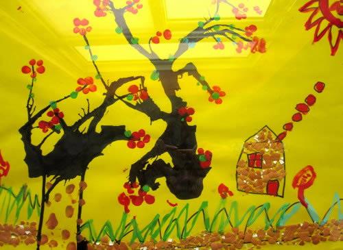 梅花-水彩画图集图片_儿童水彩画-小屋 水彩画图集图片 儿童水彩画