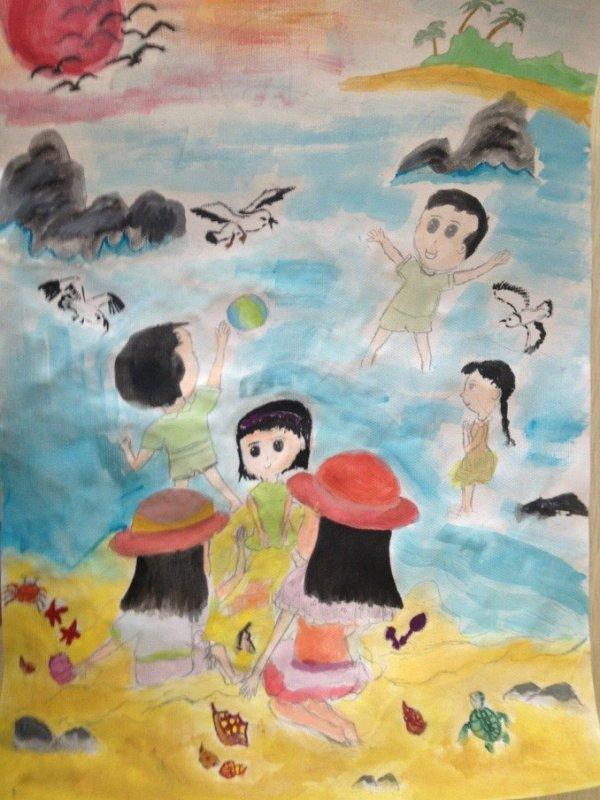 水中嬉戏-水彩画图集