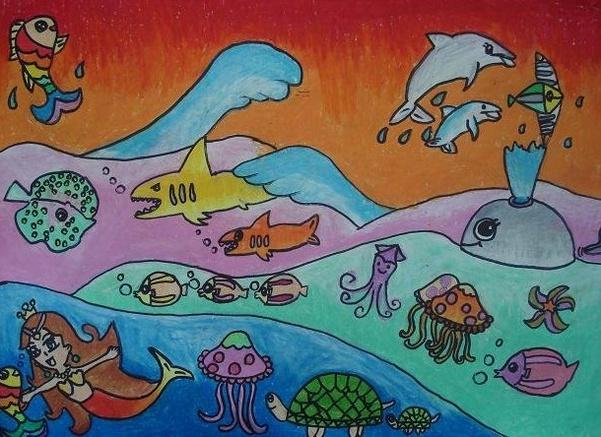 海底世界-水彩画图集图片