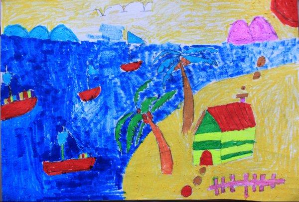 海边-水彩画图集图片_儿童水彩画_少儿图库_中国儿童-1979年蒋玄佁
