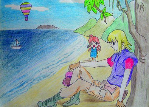 海边-水彩画图集图片_儿童水彩画_少儿图库_中国儿童