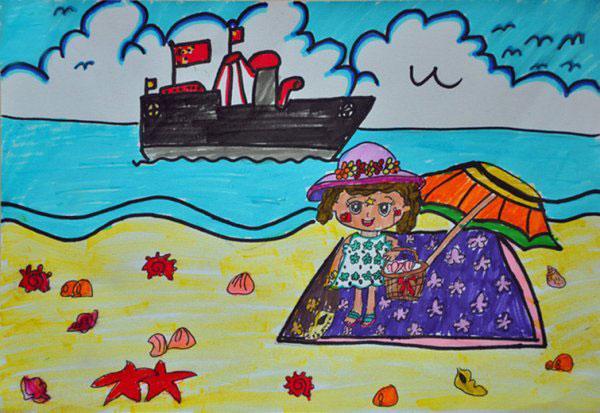 海边-水彩画图集图片_儿童水彩画